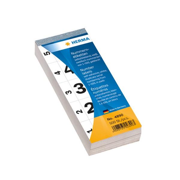 Nummernblocks, 1-500, 28 x 56 mm, mehrere Farben