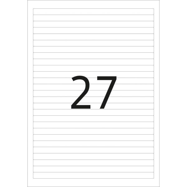 HERMA Etiketten, A4 - 192,0 x 10,0 mm, 25 Blatt, weiß, Movables ®, ablösbar