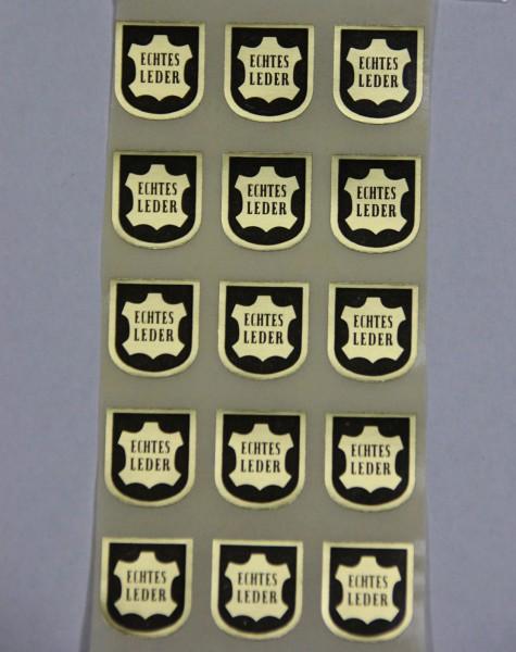"Haftetiketten ""Echtes Leder"", 14 x 16 mm, Rollen, Haftpapier gold"