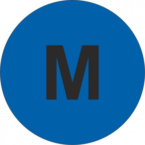 """Haftetiketten, Weitenangabe """"M"""", blau, 13 mm"""