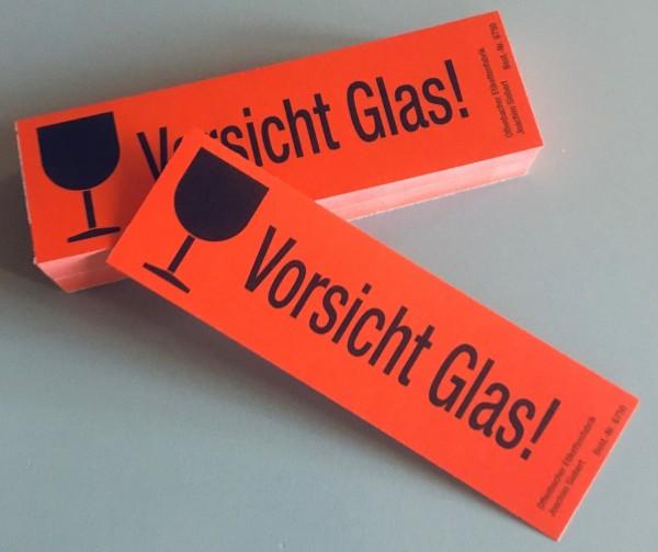 """Versandzettel, """"Vorsicht Glas"""", 120 x 40 mm Block à 50 Stück"""