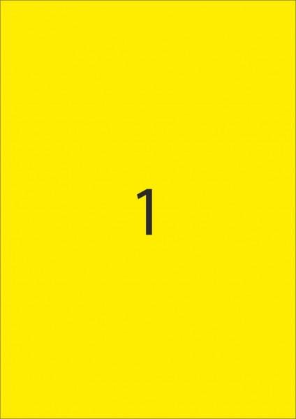 HERMA Etiketten, A4 - 210,0 x 297,0 mm, 25 Blatt, Polyesterfolie gelb matt, wetterfest