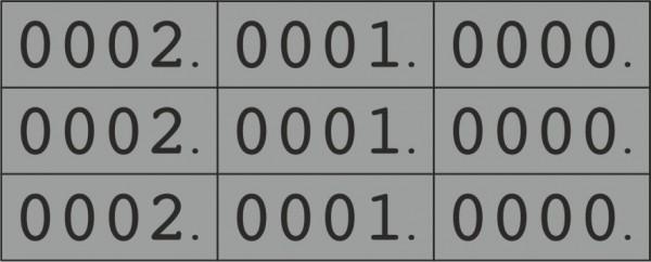 Dreifach-Nummern, 0000-9999, 25 x 10 mm, mehrere Farben