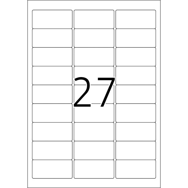 HERMA Etiketten, A4 - 63,5 x 29,6 mm, 20 Blatt, Namensschild, Acetatseide, weiß