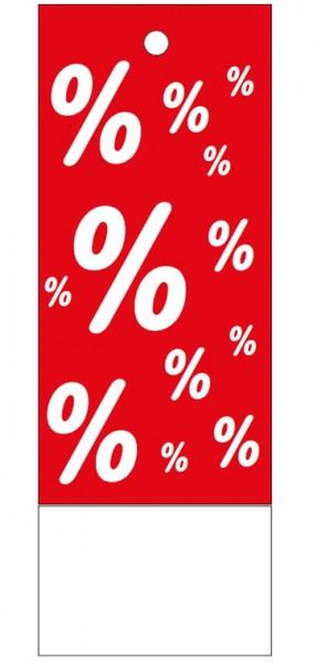 """Anhänge-Etikett, """"%"""", 28 x 78 mm, rot, mit Anlage"""