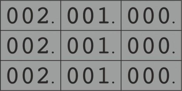 Dreifach-Nummern, 000-999, 22 x 10 mm, mehrere Farben