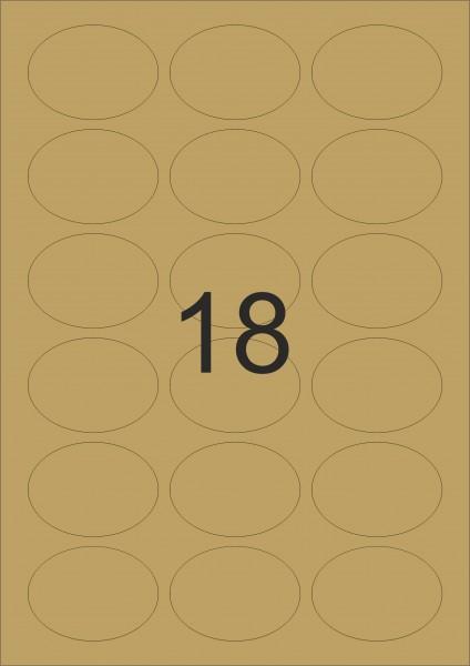 HERMA Etiketten, A4 - 58,4 x 42,3 mm, oval, gold, Polyesterfolie glänzend