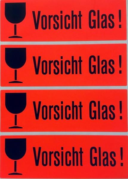 """Versandzettel, """"Vorsicht Glas!"""", 118 x 39 mm, leuchtrot"""