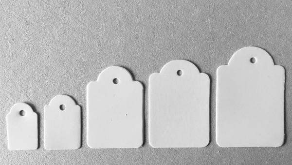 Hänge-Etiketten, 32 x 46 mm, formgestanzt, ohne Faden, 3 mm-Lochung
