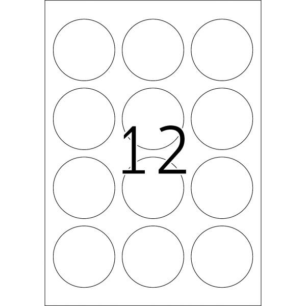 HERMA Etiketten, A4 - Ø 60 mm, 25 Blatt, weiß, Movables ®, ablösbar