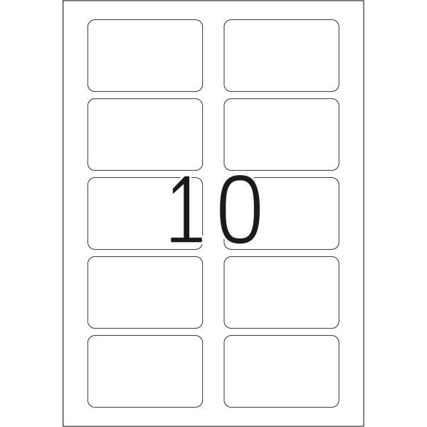 HERMA Etiketten, A4 - 80,0 x 50,0 mm, 20 Blatt, weiß, Namensschild, Acetatseide, trennbar