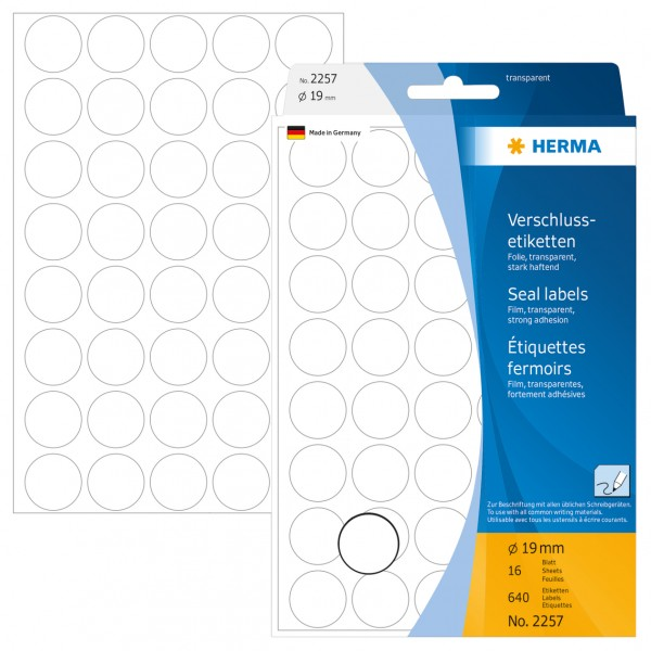 Herma Büropackung, Verschlussetikett, transparent, 19 mm Ø, permanent haftend