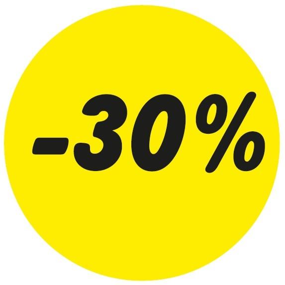 Haftetikett -30%, gelb