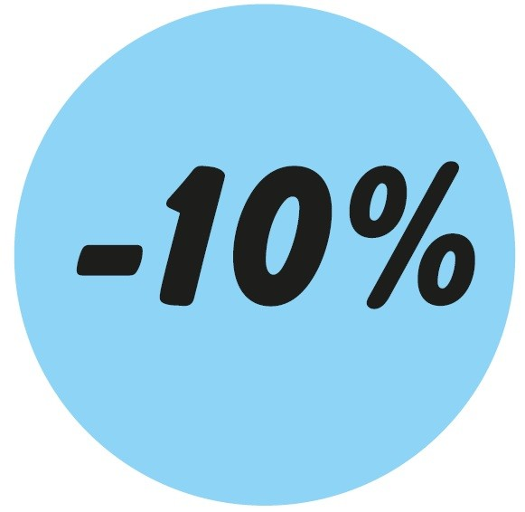 Haftetikett -10 %, blau