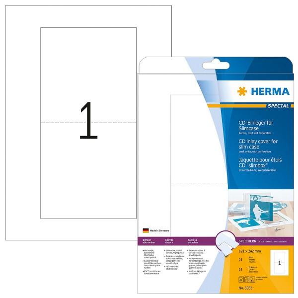 HERMA Special - A4 - 121 x 242 mm, CD-Einleger, ungummiert