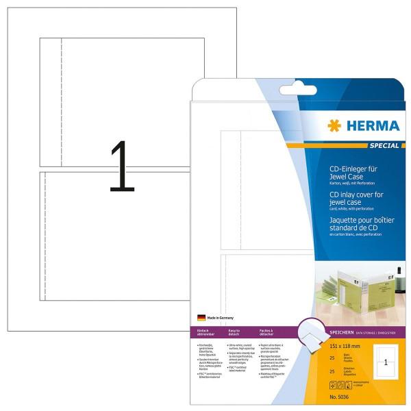 HERMA Special, A4 - 151 x 118 mm, CD-Einleger, ungummiert