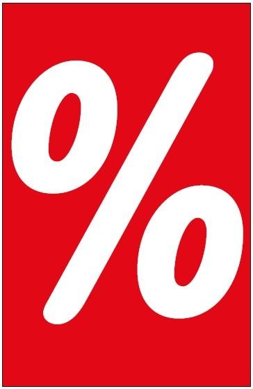 "Hinweis-Etikett ""%"", 55 x 85 mm, rot, ohne Lochung"