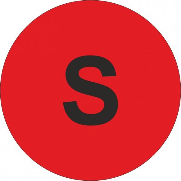 """Haftetiketten, Weitenangabe """"S"""", rot, 13 mm"""