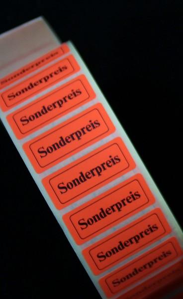 """Haftetikett """"Sonderpreis"""", 12 x 30 mm, leuchtrot"""