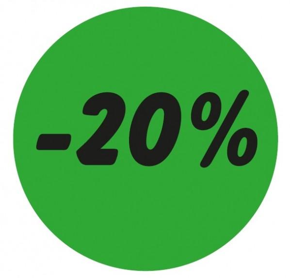 Haftetikett - 20%, grün