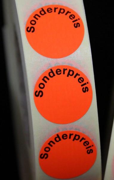 "Preisetikett ""Sonderpreis"", leuchtrot, 25 mm"