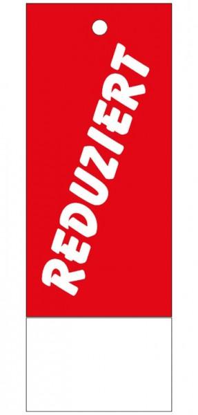 """Anhänge-Etikett, """"Reduziert"""", 28 x 78 mm, rot, mit Anlage"""