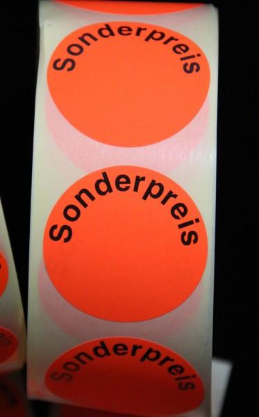 "Preisetikett ""Sonderpreis"", leuchtrot, 40 mm"