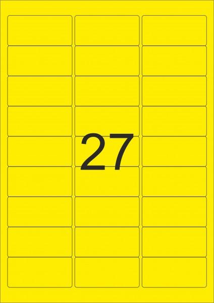 HERMA Etiketten, A4 - 63,5 x 29,6 mm, 25 Blatt, Polyesterfolie gelb matt, wetterfest