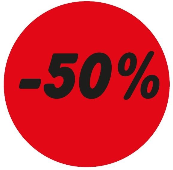 Haftetikett -50%, rot