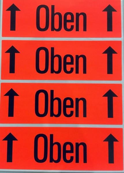 """Versandzettel, """"Oben"""", 118 x 39 mm, leuchtrot"""
