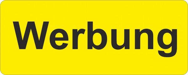 """Hinweisetikett, 30 x 12 mm, """"Werbung"""", gelb"""