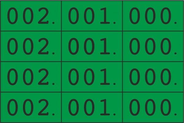 Vierfach-Nummern, 000 - 999, mehrere Farben