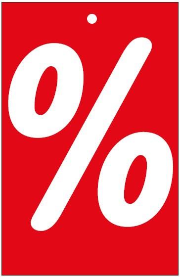 """Anhänge-Etikett """"%"""", 55 x 85 mm, rot, mit Lochung"""