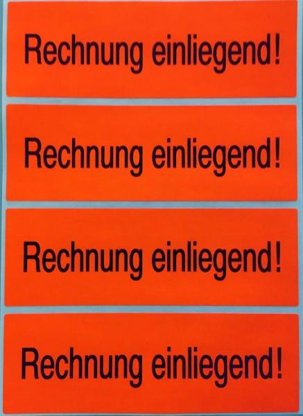 """Versandzettel, """"Rechnung einliegend!"""", 118 x 39 mm, leuchtrot"""