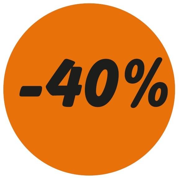 Haftetikett -40%, leuchorange