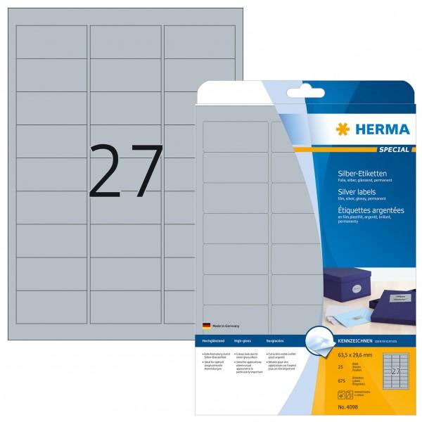 HERMA Etiketten, A4 - 63,5 x 29,6 mm, Polyesterfolie silber glänzend